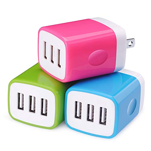 Wall Charger Adapter,Sicodo 3-Pack Universal 3.1A USB Mutiple Port Charger Cubes Power Plug Compatible with iPhoneX/8/7/6 Plus,Tablet,Samsung Galaxy S10/S9/S8 Plus/S7 Edge,HTC,Nokia,LG,Sony and More ()