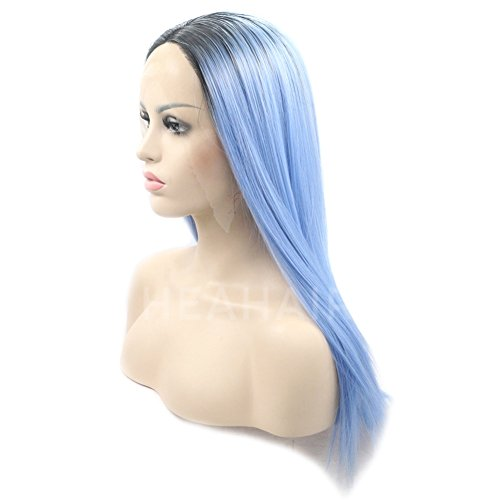 Heahair Ombre Dark Root Blue Violet Straight Handtied Synthetic Lace front Wig by Heahair (Image #4)