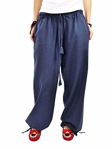 MUST WAY Women's Linen Elastic Waist Wide Leg Loose Harem Pants with Pockets Gray Blue KT-12# L