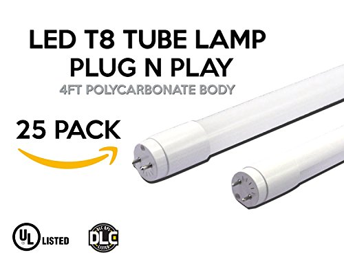 LED T8 Tube Lamp, 4ft. Nano Polycarbonate, Anti Deformation Material, Aluminum Heat Sink, SMD 2538 LED Chip , , 50,000 Rated Life Hours , 15W, 5000K 25 Pack (Plug N Play) by EZ In Touch With Tomorrow