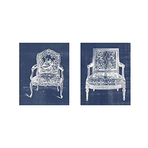 (Antique Chair Blueprint B by Vision Studio, 2 Piece Art Print Set, 8 X 10 Inches Each, Furniture Art)