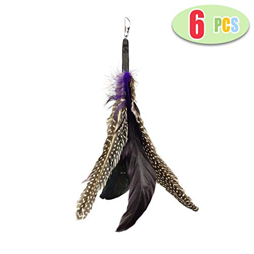 Highland Farms Select Handmade Natural Feather Cat Toy Da Bird Refills - Interactive Cat and Kitten Toy - 6 Pack