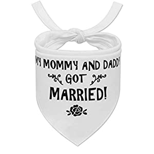 PUPTECK Valentine Wedding Dog Bandana – My Mommy and Daddy Got Married – Engagement Announcement – Soft Wedding Bibs Scarf Accessories and Photo Prop for Small to Large Dogs, White