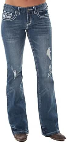 Cowgirl Tuff Western Denim Jeans Women Ain't My Day To Care Med JADTCE