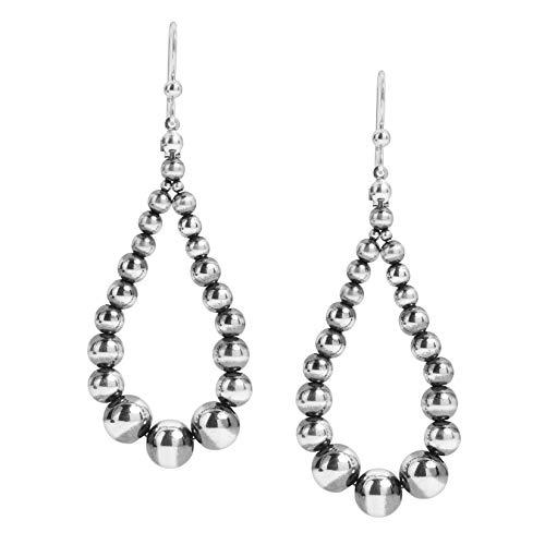 American West Sterling Silver Native Pearl Beaded Hoop Dangle Earrings 2-3/4 Inch