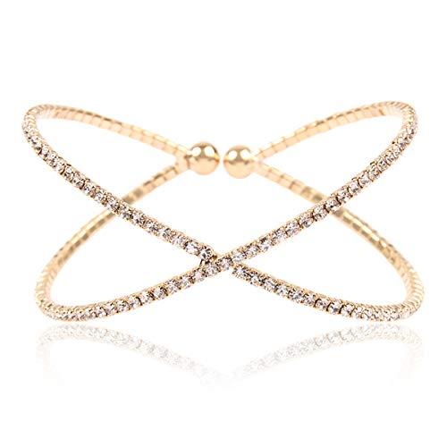 RIAH FASHION Sparkly Rhinestone Bridal Wedding Statement Bracelet - Cubic Zirconia Crystal Stretch Memory Wire/Adjustable Wrist Band Cuff/Hinge Bangle/Delicate Star Heart Flower (Criss Cross - ()