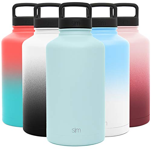Simple Modern Water Bottle Reusable Summit Wide Mouth Stainless Steel Thermos Flask, 64oz Handle Lid, Seaside