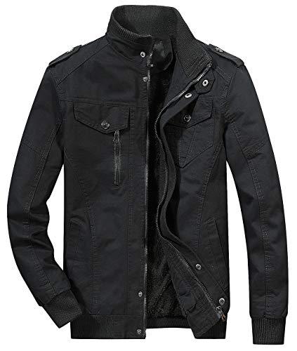 chouyatou Men's Winter Sherpa Lined Zip-Front Insulated Outerwear Bomber Jacket (Medium, 12Black)