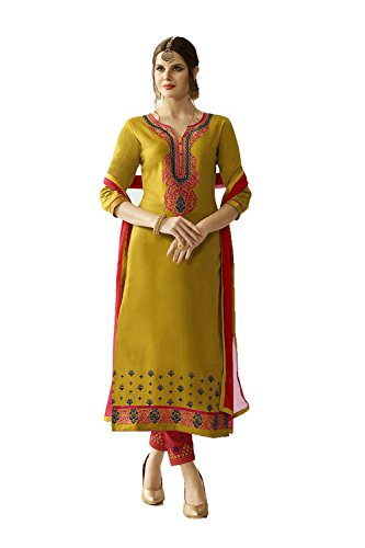 Dessa Collections Indian Women Designer Partywear Ethnic Traditonal Yellow Anarkali Salwar Kameez by Dessa Collections