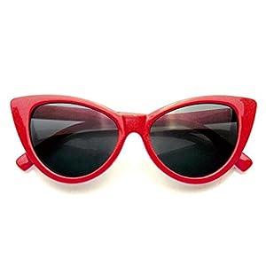 Fashion Classic Vintage Eyewear Cat Eye Designer Shades Frame Sunglasses (Red, 50)