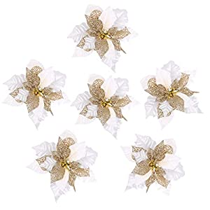 Louiesya Pack of 6 Glitter Artificial Wedding Christmas Flowers Glitter Poinsettia Christmas Tree Ornaments Dia 9 Inch (White) 96