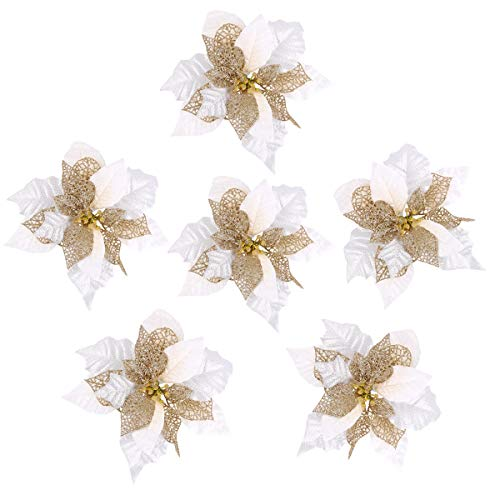 Louiesya Pack of 6 Glitter Artificial Wedding Christmas Flowers Glitter Poinsettia Christmas Tree Ornaments Dia 9 Inch ()