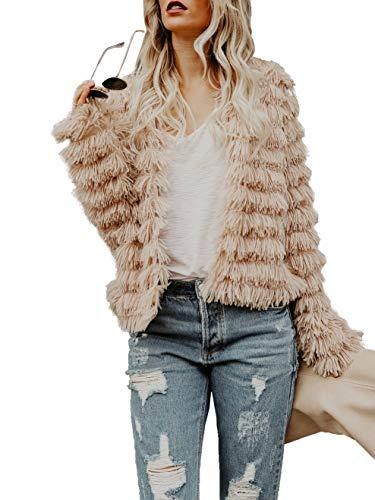 Womens Open Front Faux Fur Cardigan Vintage Parka Shaggy Jacket Coat -