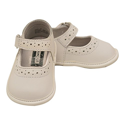 Lamour Soft Leather - L'Amour Girls White Leather Perforated Mary Jane Crib Shoes 4 Baby