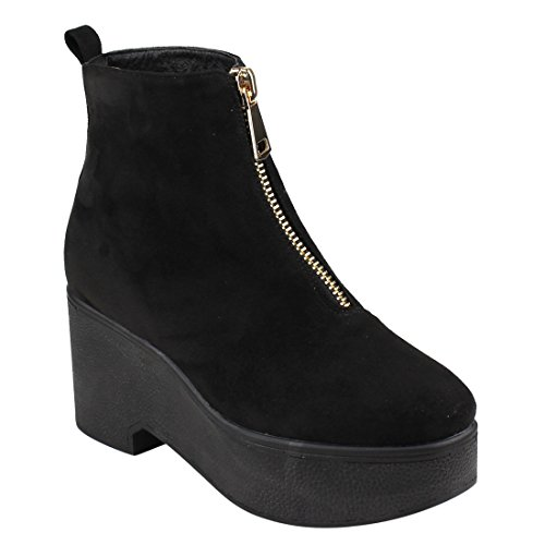 Beston EJ35 Womens Zipper Platform Wedge Ankle Booties One And Half Size Small Black