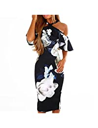 Women's Party Dress, 2019 New Women Lace Printing Cross Short Sleeve Off Shoulder Evening Party Dresses Sundress by E-Scenery
