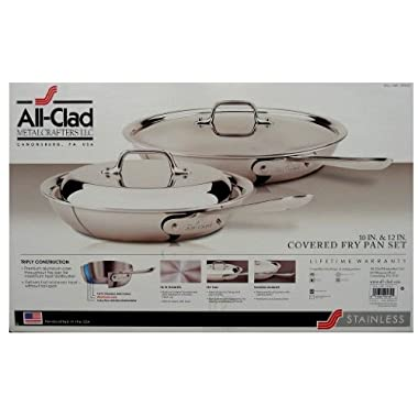 All Clad Frying Pan Set 2Pc 10  & 12  Covered