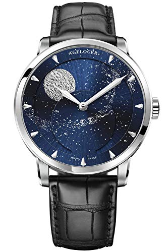 Agelocer Men's Top Brand Blue Moon Phase Automatic Mechanical Stainless Steel Luxury Watch 6401A1