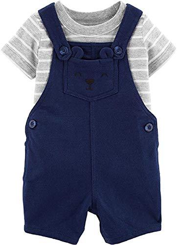 (Carter's Baby Boy 2 Piece Overall Short Set, Blue 7 Gray Stripe)