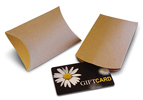 Kraft Pillow Boxes for Gift Cards (50 Pack) (Unique Gift Card Presentation)