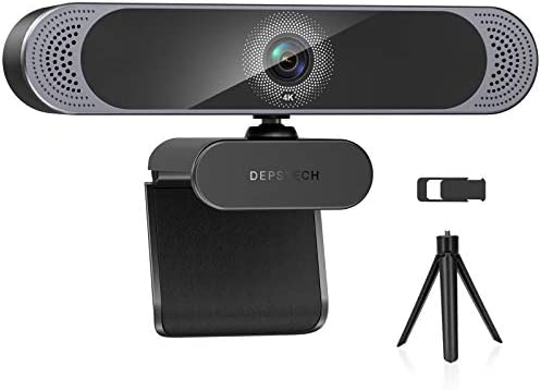 Webcam with Microphone, 2021 DEPSTECH 4K HD Webcam Autofocus Web Camera with Privacy Cover and Tripod, Plug and Play 8MP USB Webcam for Laptop PC, Streaming Webcam for Zoom, Skype, Facetime, YouTube
