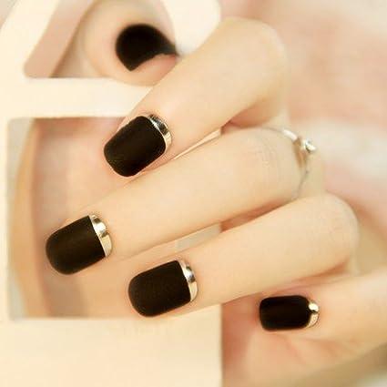 24pcs Mate con metallischem Francés acrílico desalineación – Clavo de fraudulentas de completa cubierta de Medio uñas de punta tipo