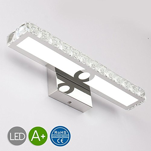 JUSHENG 16W Bathroom Vanity Light, LED Crystal Bathroom Light Fixtures Up Mirror Light, 16W 1500 Lumen Bathroom Bedroom lighting (Transparent Daylight white) by JUSHENG