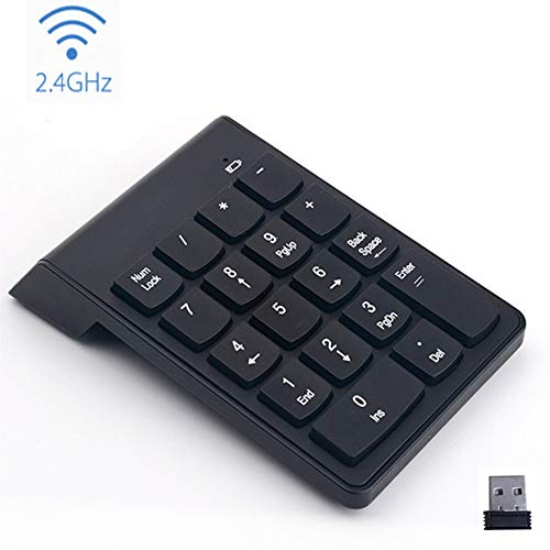 SimYoung Wireless Numeric Keypad Desktop Notebook Black 18 Keys Wireless Silent Numeric Keypad with Mini USB Receiver for Laptop Wirezoll 2.4G Number Pad PC