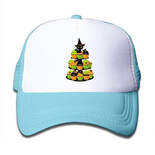 NO4LRM Kid's Boys Girls Halloween Cupcake Black Cat Youth Mesh Baseball Cap Summer Adjustable Trucker Hat ()