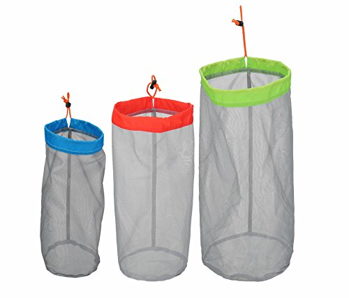 (Alemon Stuff Sack Set of 3 Lightweight Nylon Mesh Drawstring Storage Bag for Travelling Hiking)