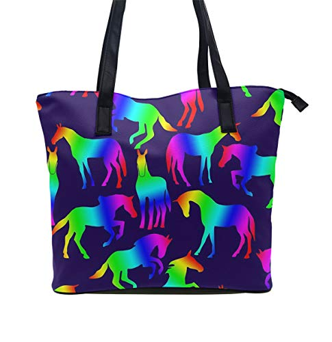 (Beach Bag Extra Large Summer Tote With Handles (Rainbow Horses))