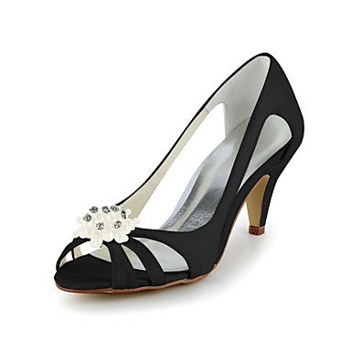 RTRY Stiletto Talón Bombas De Satén Sandalias Con Strass Wedding Shoes (Más Colores). US4-4.5 / EU34 / UK2-2.5 / CN33