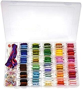 374 piezas Kit de iniciación de bordado con organizador caja de almacenamiento incluye 100 madejas bordado hilo punto de cruz Kits para principiantes: Amazon.es: Hogar
