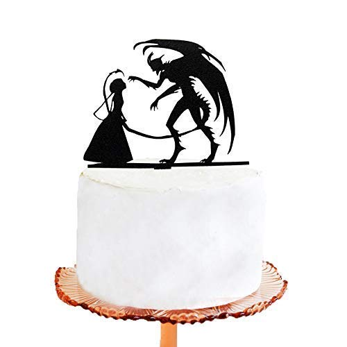 Personalized Wedding Cake Topper Halloween Devil Silhouette Wedding Gift Ideas Anniversary Party -