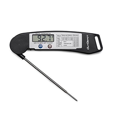 Outdepot Digital Electronic Instant Read Thermometer With Collapsible Internal Probe  Black