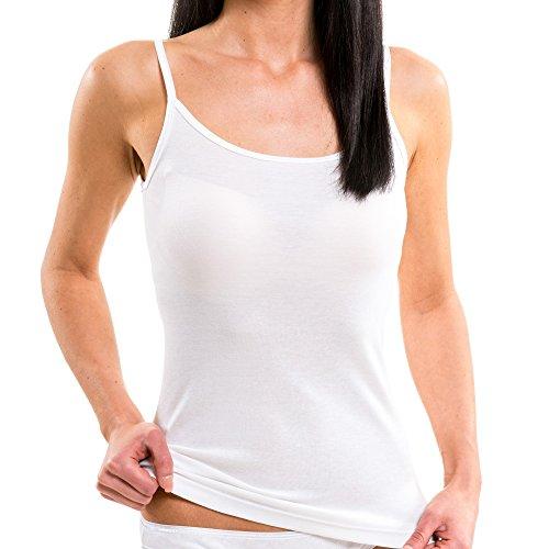 Hermko 1560- Camiseta de tirantes para mujer, 100% algodón de la UE, 3 unidades blanco