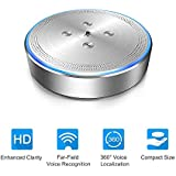 Conference Call Speakerphone - eMeet OfficeCore M1 Silver Wireless Conference Speakerphone for 3-5 People 360° Audio Pickup Conference Call Speaker for Skype Teleconferencing