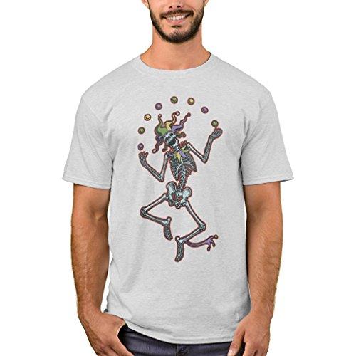 Zazzle Men's Basic T-Shirt, Juggling Jester Skeleton Ii T-Shirt, Ash L (Skeleton Jester)