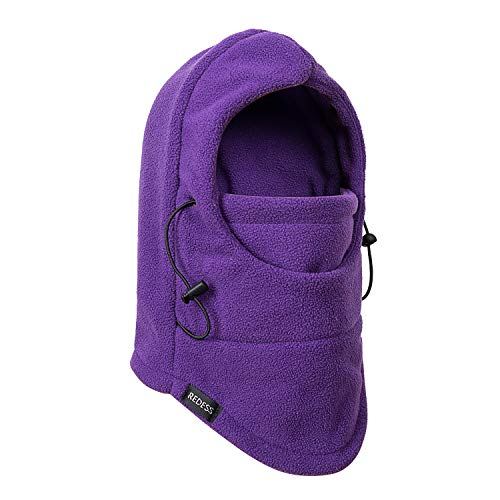 REDESS Kids Winter Windproof Hat, Unisex Children Heavyweight Balaclava, Ski Mask with Thick Warm Fleece Face Cover for Kids (Purple)
