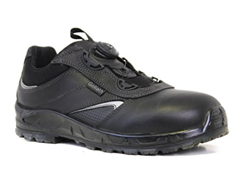 RUGGEDIM Men Safety Shoes With Toe Protection and Steel Lace | Light Duty, Anti-Static, Shock Absorbent Work Shoe | Slip Resistant & Breathable & Construction Footwear With Moisture Wicking Lining, Black, 10.5 D(M) (Goliath Footwear)
