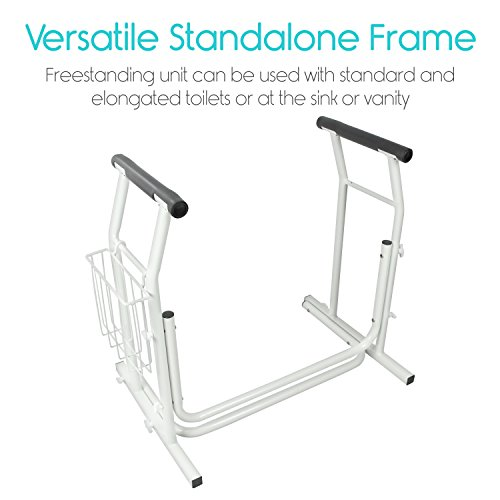 Stand Alone Toilet Rail By Vive Medical Bathroom Safety Assist Frame W Grab Bars Railings
