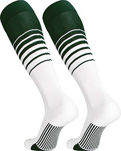 TCK Sports Elite Breaker Soccer Socks (Dark Green/White, Small) - High Five White Baseball