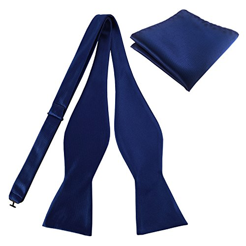 KOOELLE Mens Premium Silky Bowties Tuxedo Solid Colors Bow Ties & Pocket Square Set (Silk Navy Tie Bow)