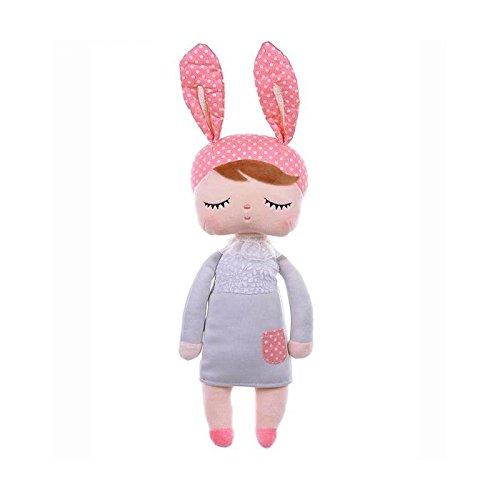Primo Passi 13 Me Too Angela Vintage Plush Stuffed Doll Baby Girl Rabbit I Grey-Pink I Kids Idea I Baby Girls Sleeping Partner I Best Friend