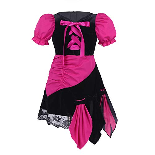 Agoky Infant Baby Girls Little Pirate Costume Halloween Cosplay Party Fancy Dress Role Play Outfits Black&Rose Red 12-18 Months -