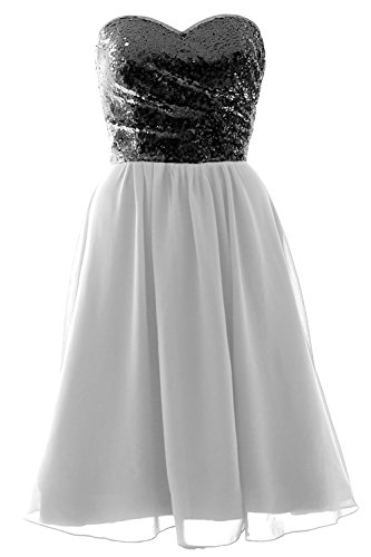 Elegant Sequin Black Chiffon Bridesmaid White Short MACloth Gown Dress Strapless Formal dxBqXw