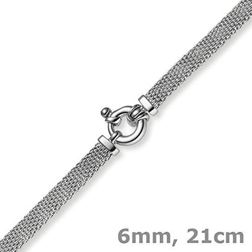 Les bracelets framboise - 6 mm plat-bracelet en or 750 en or blanc 21 cm