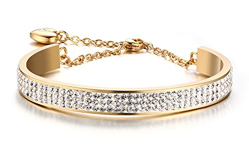 Style Rhinestone Bangle (Stainless Steel 8mm Width 3 Row of Crystal Rhinestone Pave Cuff Bangle Bracelets ,Gold plated)