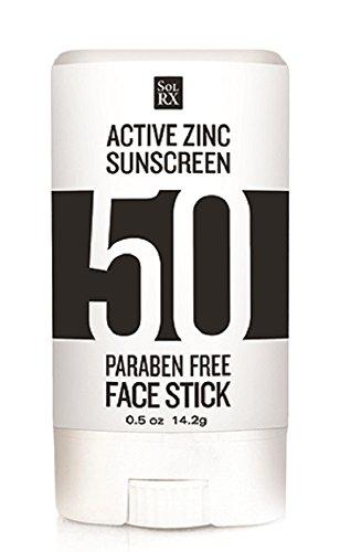 SolRX Zinc Stick SPF 50 Active Zinc Oxide Sunscreen for Face 05 oz