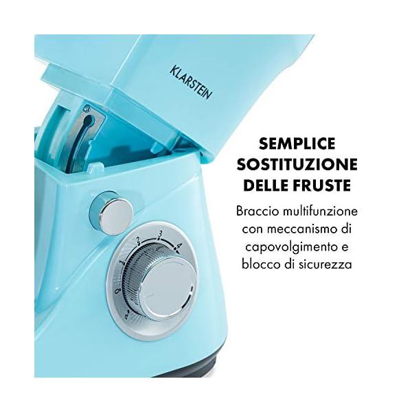Klarstein Bella Pico 2G - Robot da Cucina, Mixer, Impastatrice, 1200 W / 1,6 PS, 6 Livelli, Sistema di Miscelazione… 6